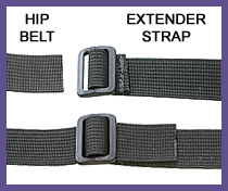 Extends hip belt length by 20 extra inches on each side