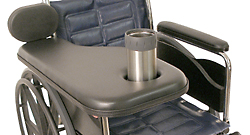 Padded Wheelchair Half Tray With Cupholder and Elbow Pad